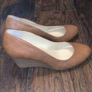 Jessica Simpson brown wedge pumps, size 9.